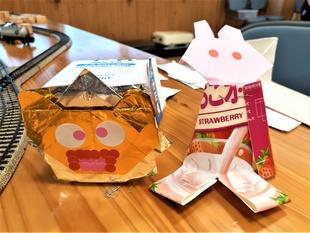 紙パックと折り紙でライオンとうさぎが生まれました!